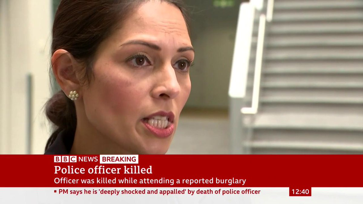 """Home Secretary Priti Patel praises PC Andrew Harper for his """"service"""" and """"sacrifice"""", as Thames Valley Police confirms he was killed while attending a reported burglaryhttp://bbc.in/2yYWMVx"""