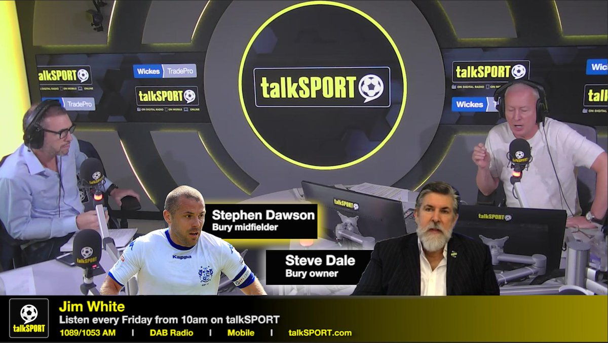 MUST LISTEN! 📻 Bury midfielder Stephen Dawson says he'll lose everything due to unpaid wages. #BuryFC owner Steve Dale claims Dawson has been paid. We put Dale and Dawson on-air together to clear things up. You have to take 10 minutes to hear this incredible clash...