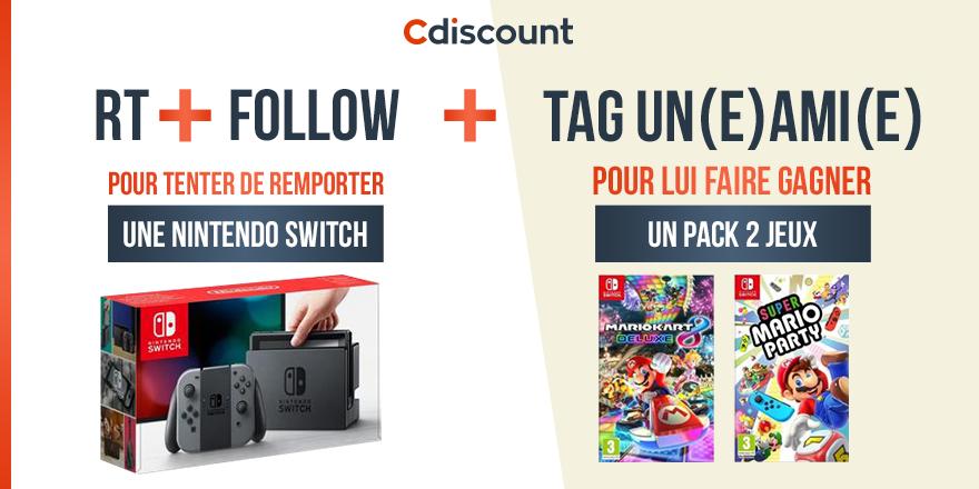 🎁 #Concours Une console Switch à remporter pour toi et des jeux pour ton ou ta pote 👍 🔸 Pour tenter votre chance : RT + Follow @Cdiscount TAS 23/08