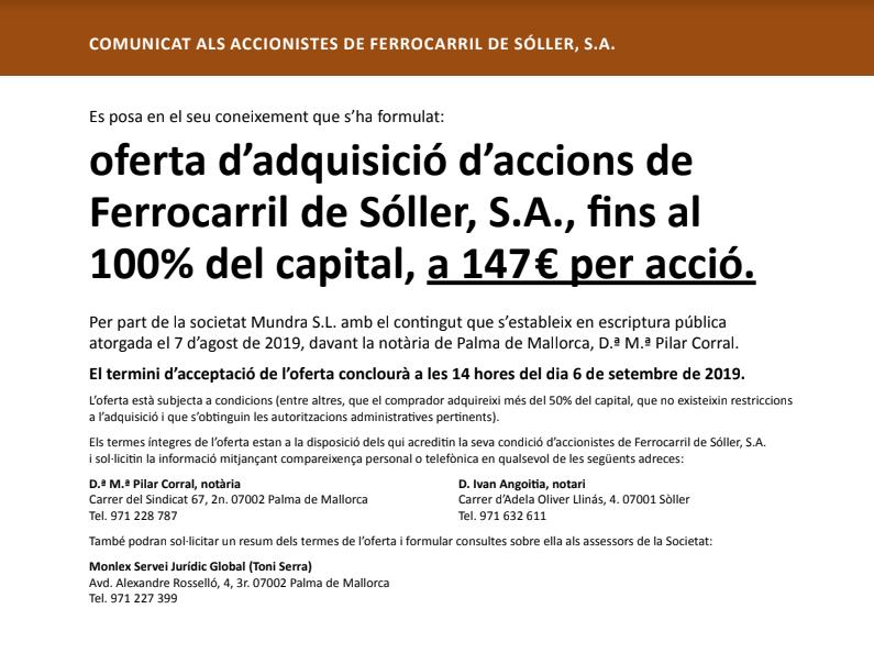 ECFxg88WwAAu9DN - 'Hostile takeover' for Ferrocarril de Sóller?