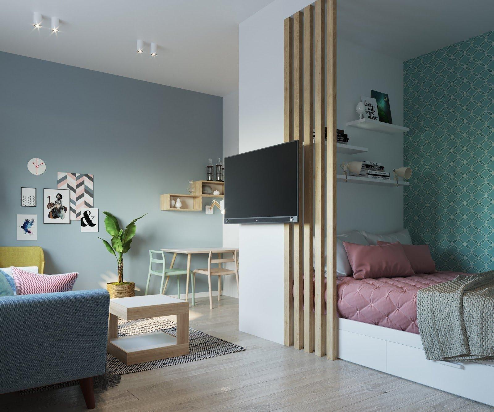 Как отделить кровать в гостиной фото