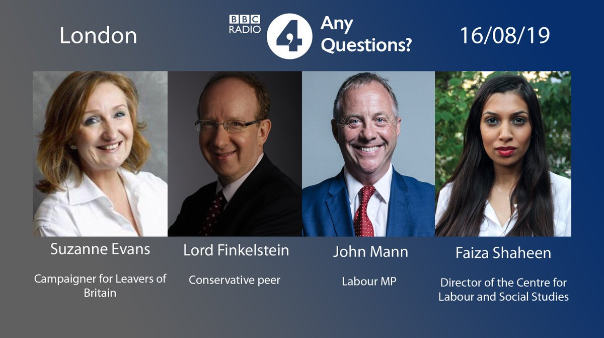 Coming up 8pm @bbcradio4 Any Questions is in London with @SuzanneEvans1 @Dannythefink @JohnMannMP @FaizaShaheen and @ritula is in the chair Listen ➡️https://bbc.in/2z54flLTell us what you think ➡️#bbcaq