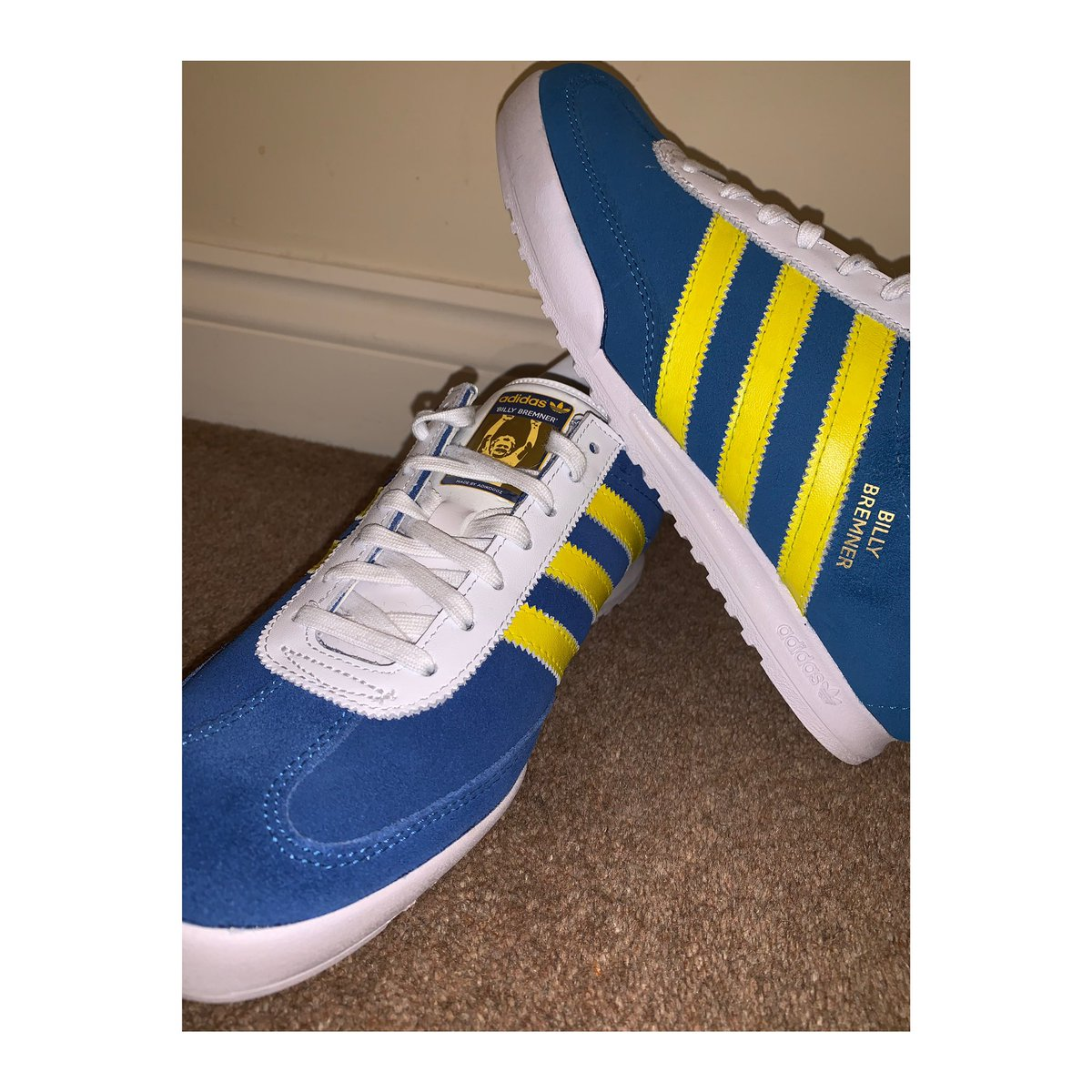"""Adidas custom """"Billy Bremner"""" edition 🤯 Text removed, custom Billy Bremner text applied to the side, custom tongue tabs created for the tongues all customised and created by adikoggz. All share to all your Leeds fans and pages would be appreciated #leeds #leedsunited #BillyB"""