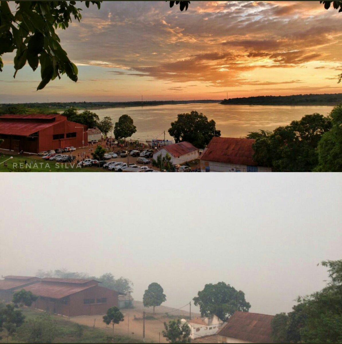 That's the city I live in, It's called Porto Velho. It's in the Amazon region.   What you see isnt fog, its smoke from the burnt forest.  #savetheamazon #amazoninflames #amazôniaemchamas<br>http://pic.twitter.com/ycm9P945Iw