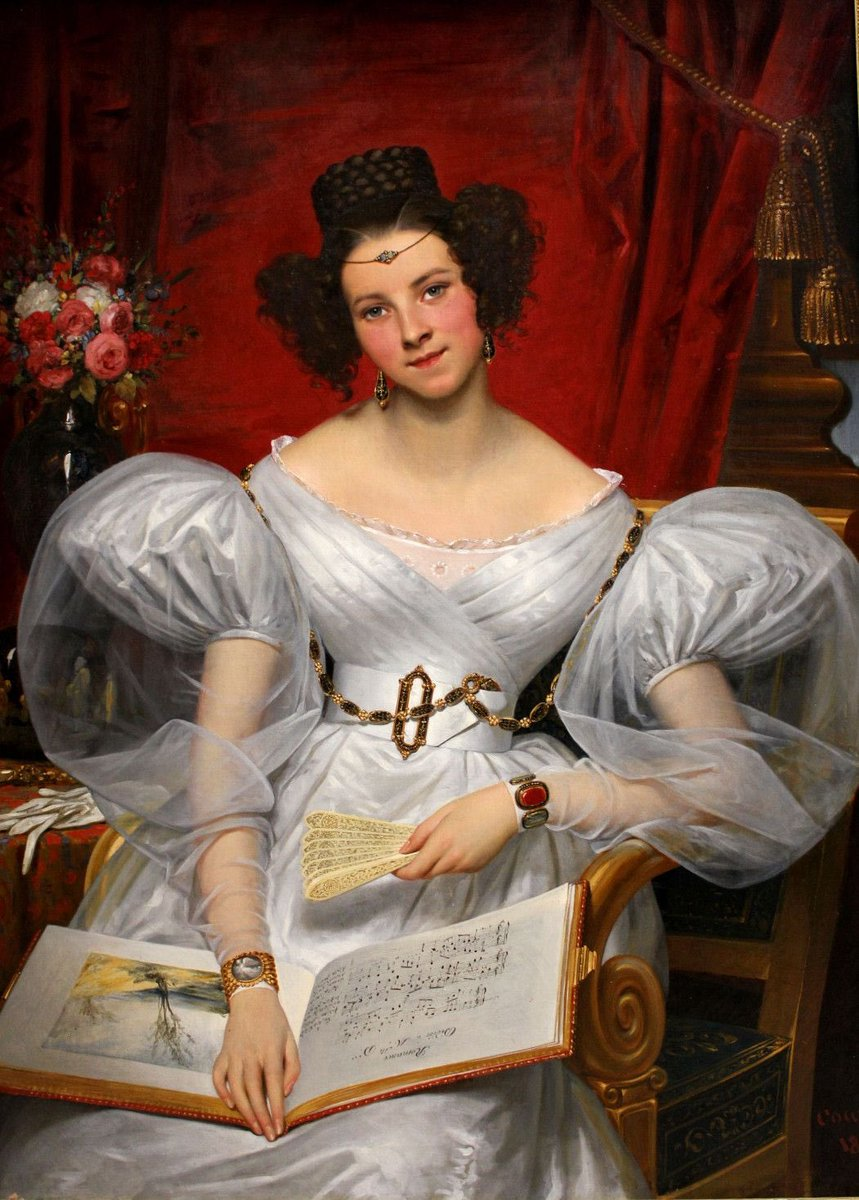 Despite the over the top sleeves and the absurd (to the modern eye) hair, the sitter still manages to look surprisingly elegant. She's the Marquise Chasseloup-Laubat, by Joseph-Désiré Court, 1831. Via Musée des Beaux-Arts.