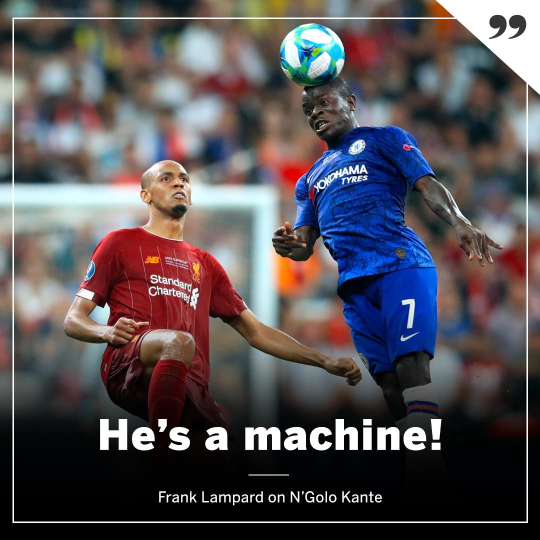 N'Golo Kante was an injury doubt for the Super Cup:  He played 120 minutes. Completed the most dribbles. Man marked Van Dijk from corners. Won the most tackles for Chelsea.