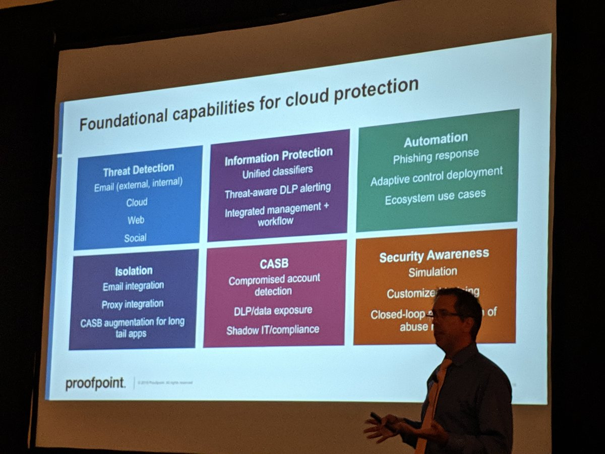 Foundational capabilities for #Cloud protection 1. Threat detection 2. Information protection 3. Automation 4. Isolation 5. CASB 6. Security awareness  *from MN Digital Government Summit this week <br>http://pic.twitter.com/Vcb4t618ip