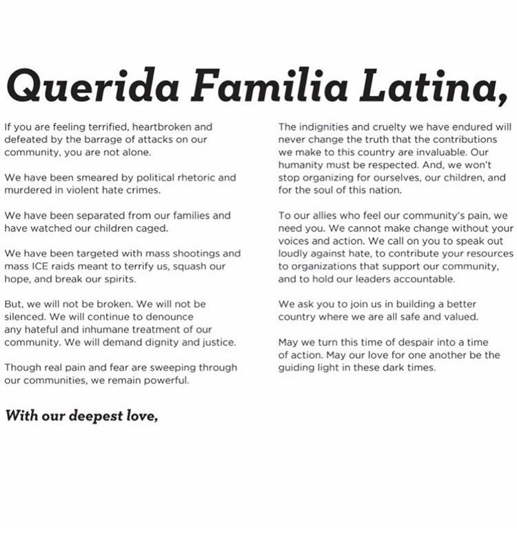 """""""This message isn't about policy or political parties,"""" Longoria said. """"It's about love and decency, and it's about bringing humanity back into the conversation"""" - Eva Longoria bit.ly/queridafamilia #QueridaFamilia"""