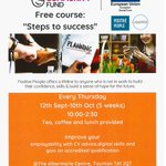 Positive people are delivering a free course to help people back into work. This will be a chance to improve your digital skills, gain an accredited level 1 qualification and there is a free lunch! Here is the flyer for more detail! @Pos_People