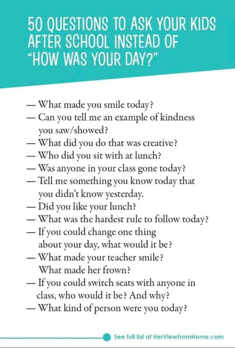 How was school? Good. Try these great conversation starters to end your school week and get the whole scoop! #TheWholeBobcat #DontStopBelievin #WorkHardBeKind #BobcatsFirst<br>http://pic.twitter.com/XYe0oKRW8J