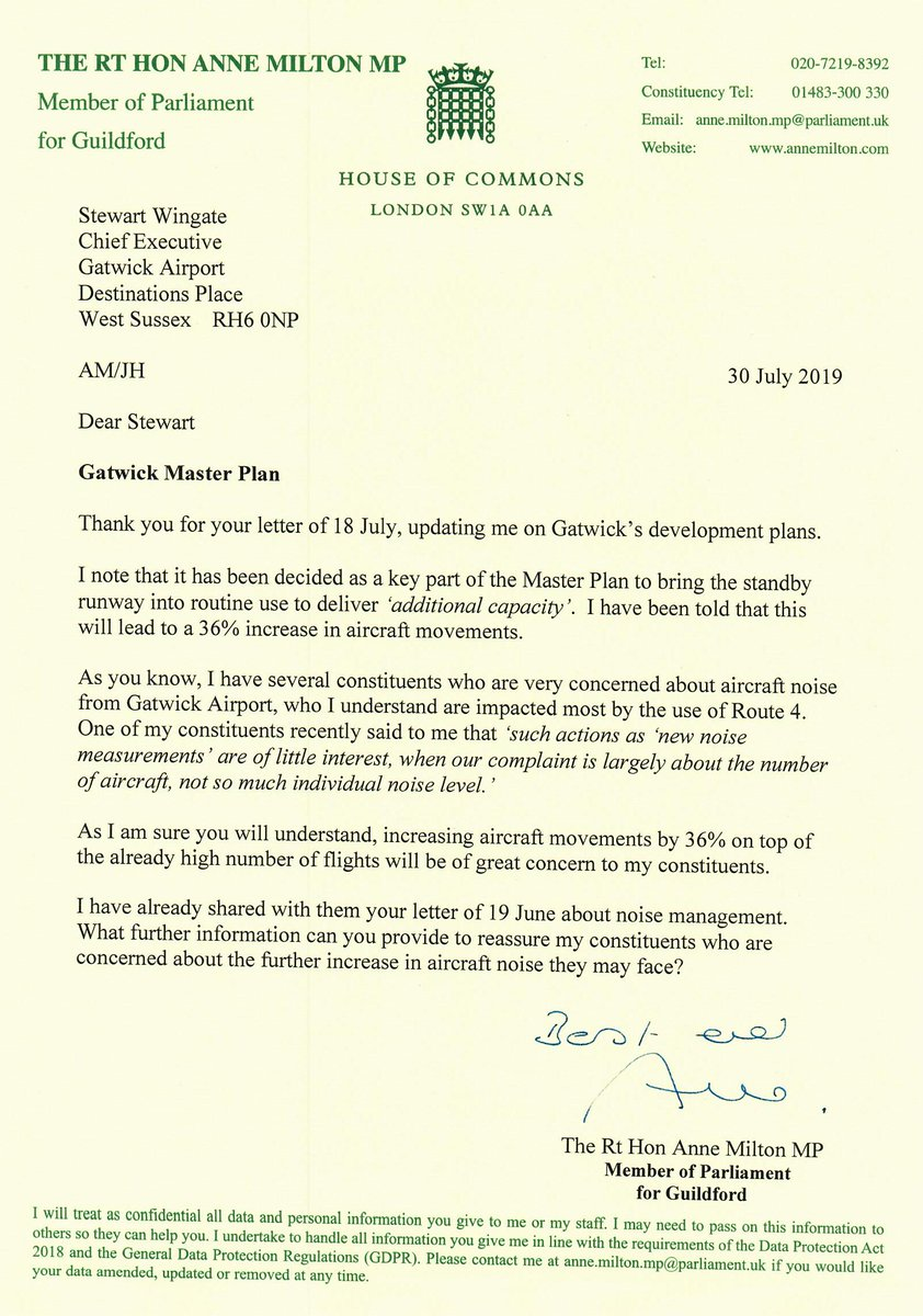 @Gatwick_Airport Master Plan will bring its standby runway into routine use. I have been told this could lead to a 36% increase in aircraft movement – adding to the high levels of noise some of my constituents experience. I have written to the CEO to voice these concerns.