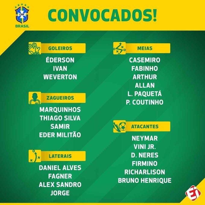 قائمة المنتخب البرازيلي لمواجهتي كولومبيا