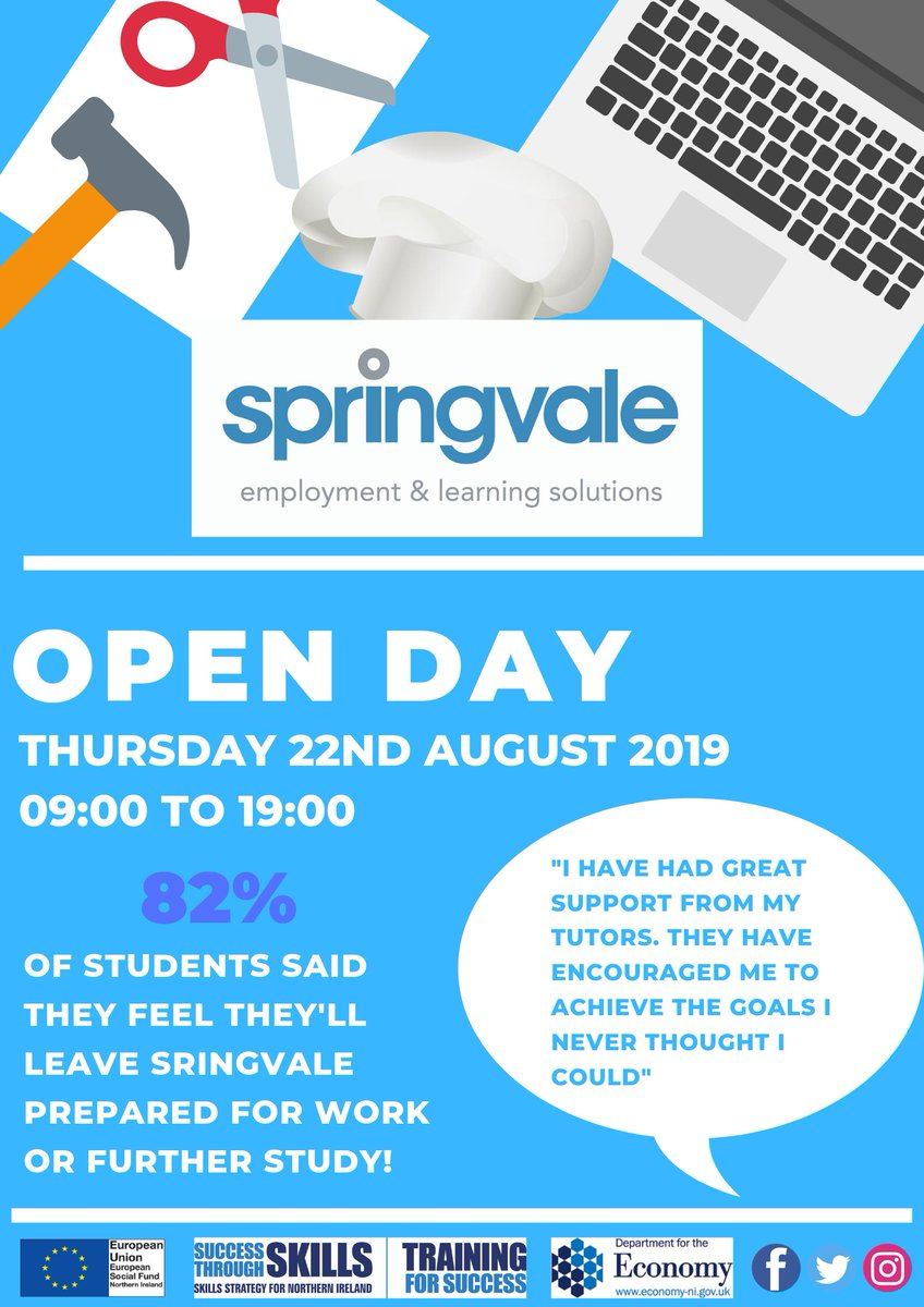 OPEN DAY: Are you a school leaver and feel unsure about what to do next? Why not come along to the #SpringvaleOpenDay and check out the courses we have to offer including:  • Hair and Barbering • Beauty • Catering • Joinery • Plumbing • Digital Media • Computer Technology <br>http://pic.twitter.com/SOquDUX4w6