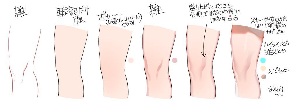 立ち絵の膝褒められてメイキング要求されたのでしました 途中で膝がゲシュタルト崩壊してどう描いてたのかよくわからなくなった