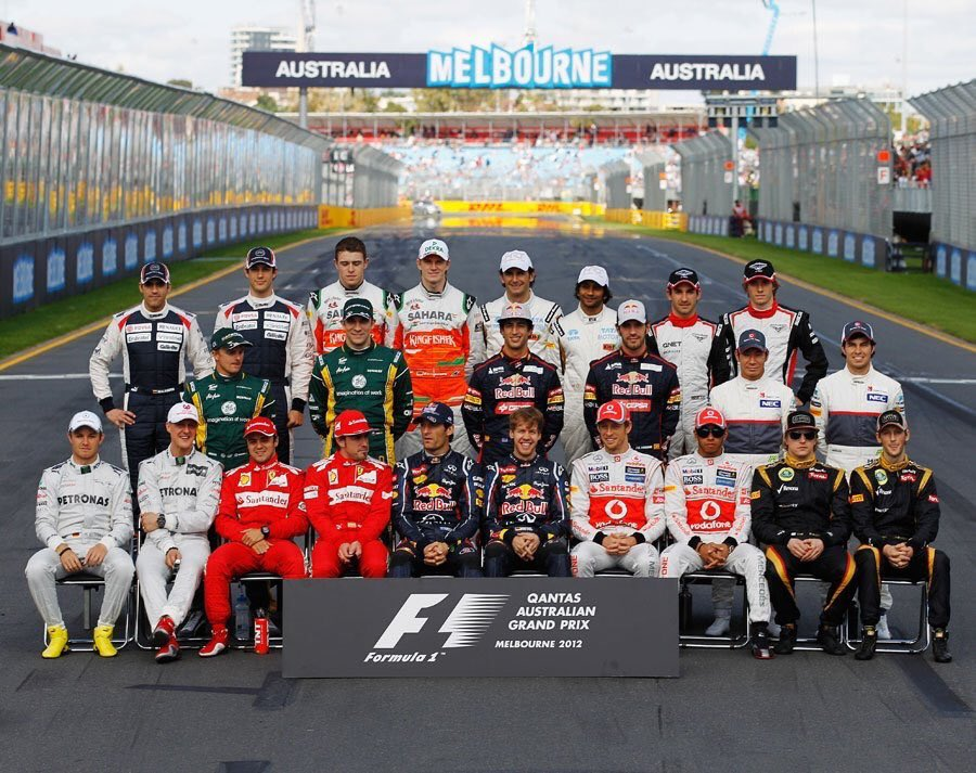Can you tell the pilots who are still participating in F1?  HINT: Only 7 of the pilots from the photo are active  #F1 #F1History #AustralianGP <br>http://pic.twitter.com/Mj6dcs1VXN