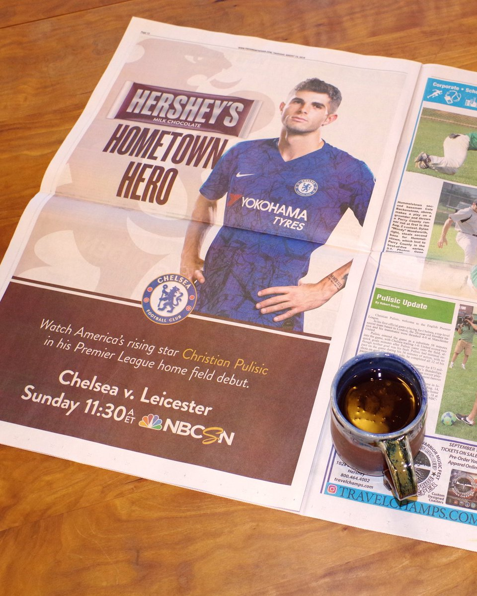 🇺🇸🍫👀 Christian Pulisic, Hershey's Hometown Hero.   Full page ad taken out in his local newspaper in Hershey, PA ahead of his home debut for Chelsea this weekend.   #CFC #PLonNBC #USMNT