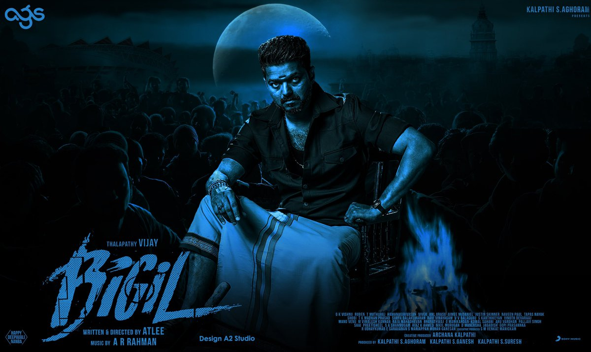 Here is our poster design for #ThalapathyVIJAY   #Bigil   Happy Deepavali Nanbha  <br>http://pic.twitter.com/5gNTFyRG1I