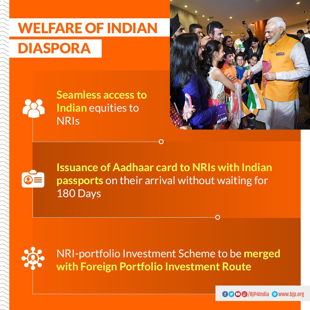 Welfare of Indian Diaspora.   ‣ Seamless access to Indian equities to NRIs.   ‣ Issuance of Aadhaar card to NRIs with Indian passports on their arrival without waiting for 180 days.  ‣ NRI-portfolio Investment Scheme to be merged with Foreign Portfolio Investment Route. <br>http://pic.twitter.com/FWFR7Ip9CL