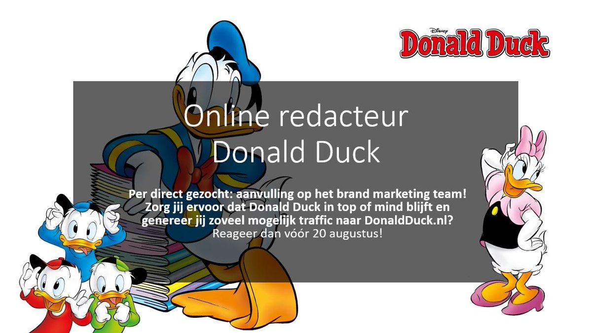 test Twitter Media - We zijn per direct op zoek naar een online redacteur voor Donald Duck. Moeten we jouw sollicitatie in behandeling nemen? Reageer dan vóór 20 augustus en wie weet maak jij binnenkort kennis met het brand marketing team van Duckstad! https://t.co/iZ5eK98i8P