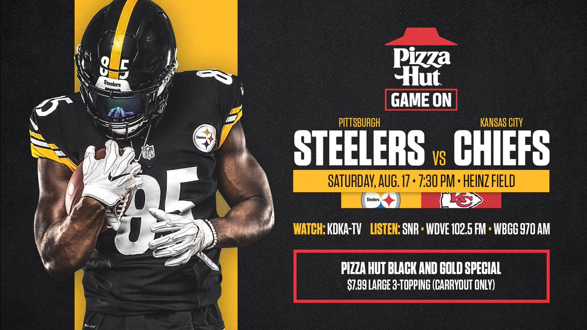 Cant make it to Heinz Field on Saturday? Make sure you know how to watch and listen to our game against the Chiefs. @PizzaHut Game On: stele.rs/74Y1mX