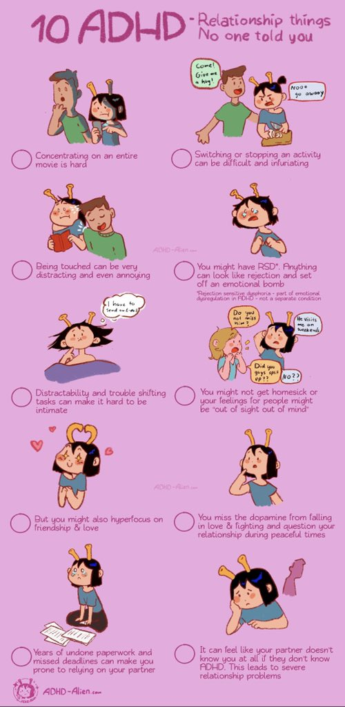 How ADHD can influence relationships and friendships. Not everyone with ADHD is the same so cross out what applies to you and your relationships ❤️ (mine is just a full bingo of course)  #adhd #adhs #tdah #comic #mentalhealth #neurodiversity