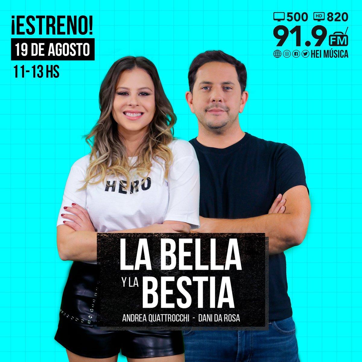 SE VIENEEEEE 🔉🔉🔉 Desde este lunes @Andrea4ki y @dani_da_rosa se convierten en #LaBellayLaBestia y quieren ser tu mejor compañía antes, durante y después del almuerzo 😜 El 19 de agosto a partir de las 11:00 de la mañana #LaBellaYLaBestia se apoderan de #HEiRadio y #HeiTV 📺⚡️