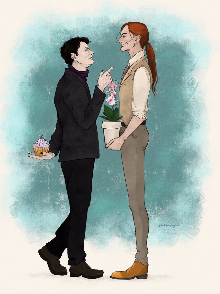 #goodomens  reverse au where aziraphale is a demon of gluttony and has his own sweetshop and angel crowley is a florist  #ineffablehusbands @GoodOmensPrime<br>http://pic.twitter.com/Rr9BdnOUUs