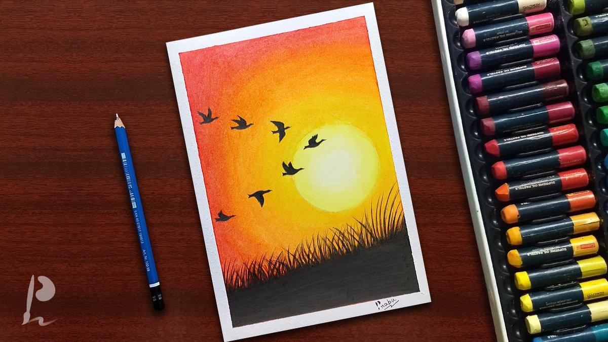 Easy Birds Sunset Oil Pastel Drawing For Beginners