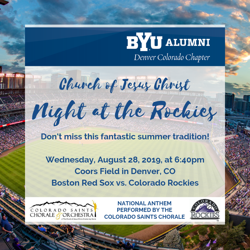 Come enjoy a summer evening at The Church of Jesus Christ Night at the Rockies on August 28!  Rockies vs. Red Sox.  Be there early so you don't miss the Colorado Saints Chorale and Orchestra singing the national anthem!  For tickets: https://t.co/XUK9Eizxbj  #byualumnidenver https://t.co/7xXrIVkDdL