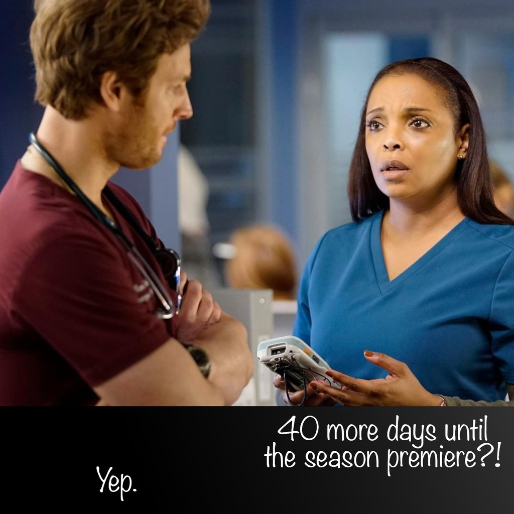 Just 40 more days! Then more Chicago Med :) Season 5 will GRACE us with more STORY! @NBCChicagoMed #chicagomed #onechicago #nbc <br>http://pic.twitter.com/myLy6NS6Ix