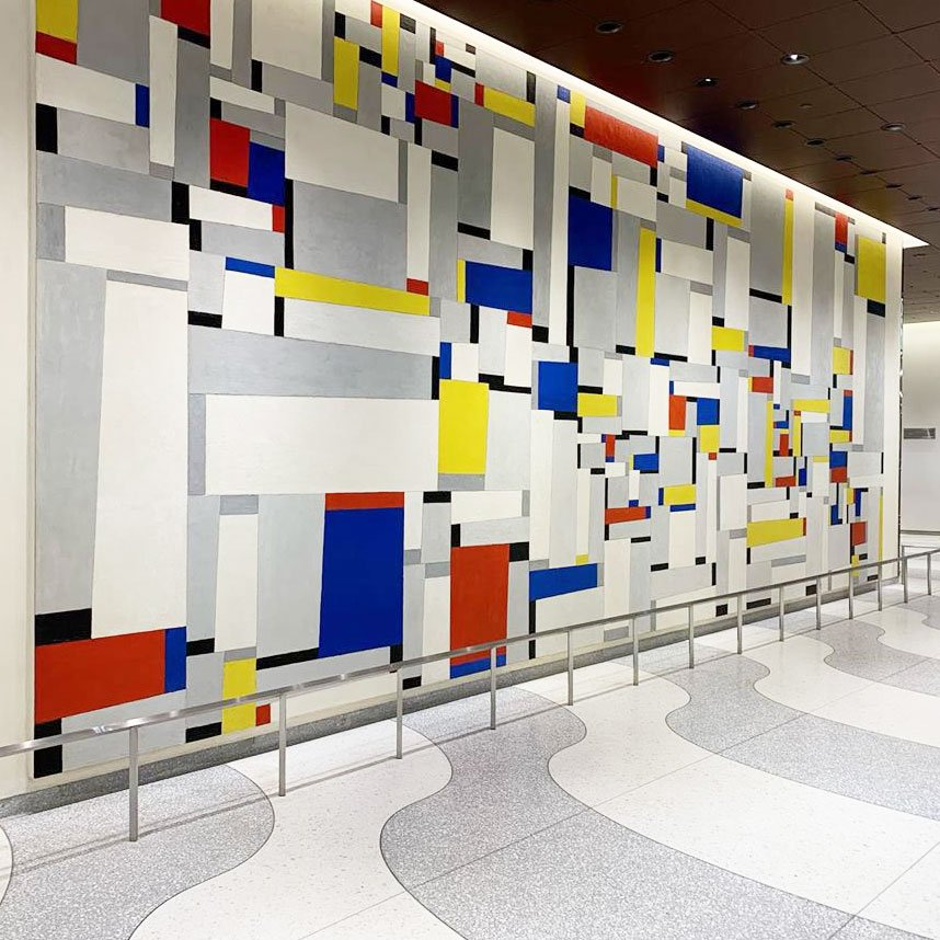 """""""I'm a huge fan of the lobby of the former Time & Life Building, mostly for the Mondrian-esque mural by American abstract painter #FritzGlarner."""" –Glenn Belverio, content marketing manager for retail Explore this hidden art gem: mo.ma/2z284bF #MoMApicks"""