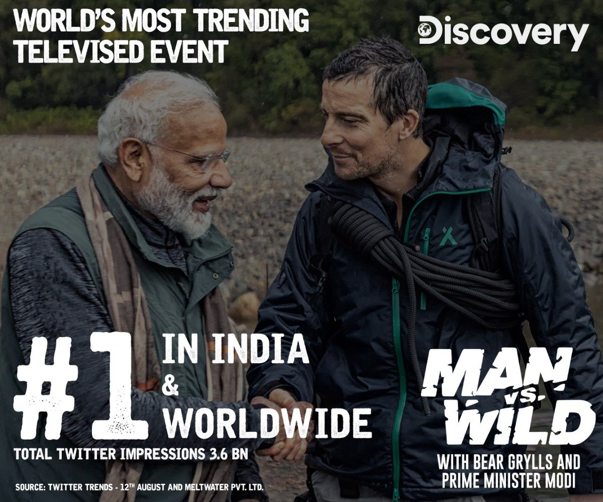 #1 in India & #1 Worldwide with 3.6 billion impressions. SO AWESOME! THANK YOU!!!!  (For reference: Super Bowl 53 had 3.4 billion social impressions for the game itself.)  #PMModionDiscovery #ManVsWild #BearGrylls https://t.co/MGLeI4e82X