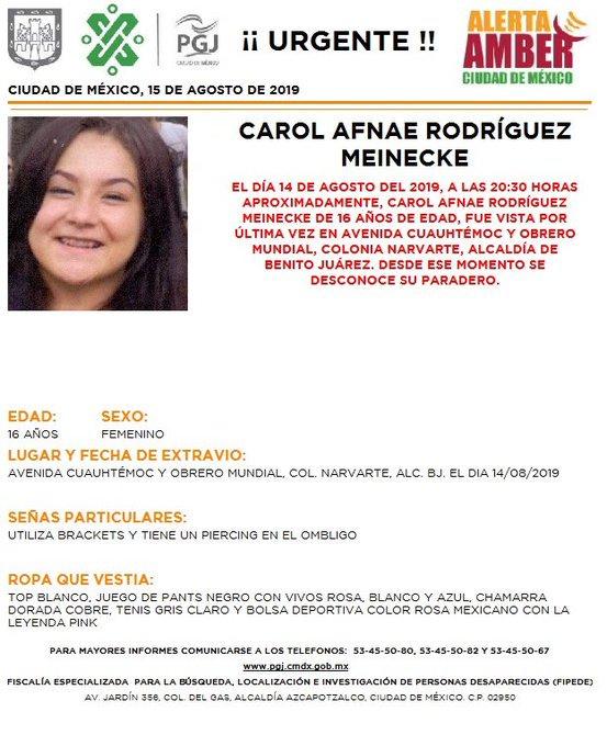 Se activó la #AlertaAmber en la #CDMX para localizar a Carol Afnae Rodríguez Meinecke, de 16 años; Wendi Paola Villar Pompa, de 15 años; Ximena Cruz Cruz, de 16 años y Dana Khamila Peña Ponce, de 9 años. Dale #RT por favor #DFT