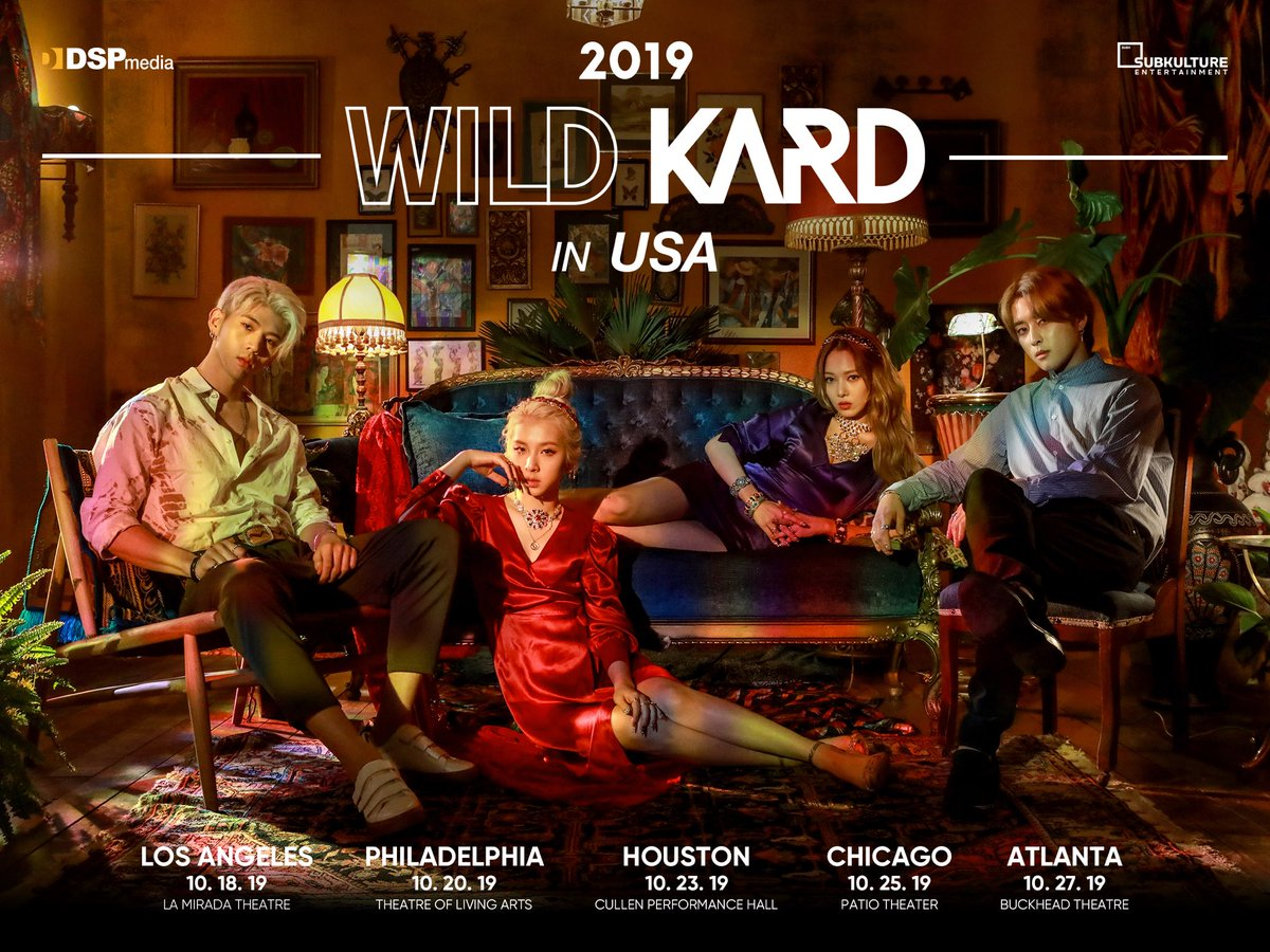 Wildin all day, wildin all night  2019 WILD KARD TOUR IN USA is coming your way this October, Hidden Kard! Stay tuned with us for more info about @KARD_Official's upcoming U.S. tour  #WILDKARDinUSA #KARD #카드 <br>http://pic.twitter.com/3IVhZQQkOb