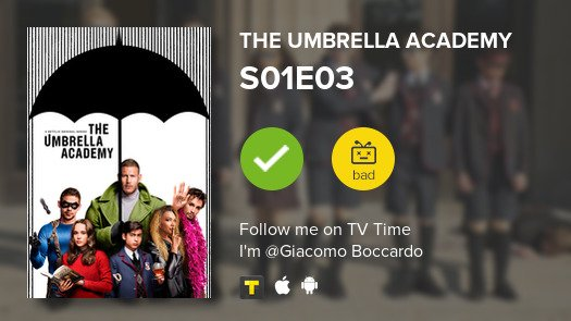 test Twitter Media - I've just watched episode S01E03 of The Umbrella Aca...! #umbrellaacademy  #tvtime https://t.co/g3ymponTT1 https://t.co/WPfeZlNeCF