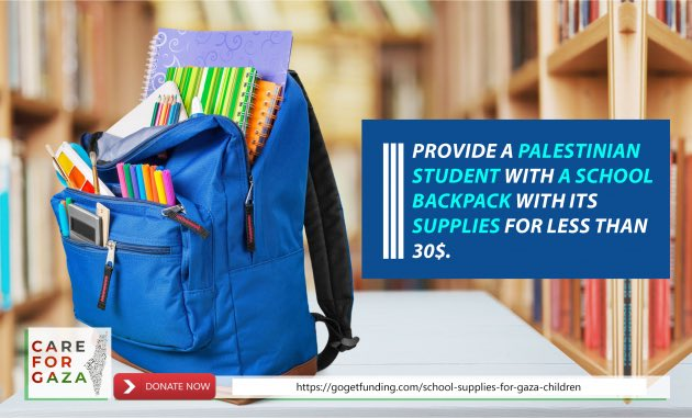 8 days left for school in Gaza! We hope that we can help some of the needy families and support their children with school supplies and clothes. You can donate using this link or using PayPal. gogetfunding.com/school-supplie… paypal.me/MSmiry