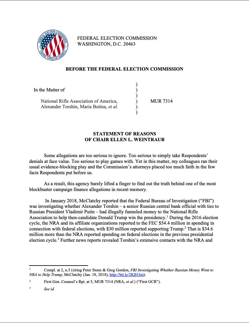 BREAKING: @FEC's Republicans block all investigation of & enforcement against Russians Torshin & Butina re the NRA & the 2016 presidential election. Result: FEC does nothing to find out the truth behind one of the most blockbuster campaign finance allegations in recent memory.