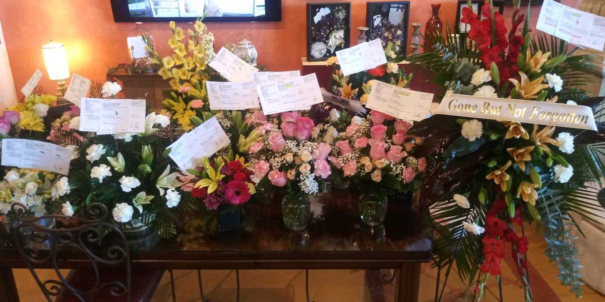 A local florist in El Paso sent this picture showing a half dozen of the 70 or so floral arrangements she made today, so far. Each has been paid for by individual strangers who want to support Mr. Basco.