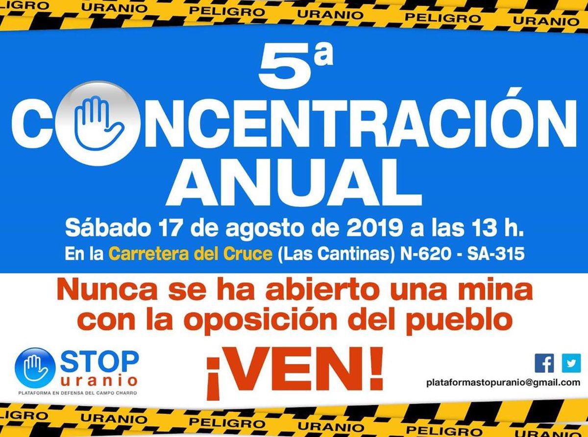 Mañana concentración contra la mina de uranio que pretenden abrirnos en Salamanca. Convocan nuestros admirados compañeros/as de @stopuranio. Desde la distancia geográfica, todo mi apoyo.