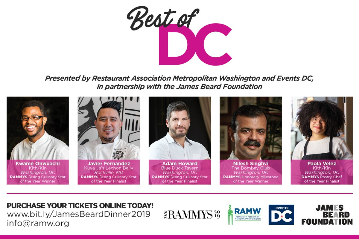 "We're taking a bite out of the Big Apple! We're thrilled to be part of the Regional Spotlight: ""Best of DC"" 2019 dinner at @beardfoundation House with our partners @TheEventsDC Tuesday 8/20  Reserve your seats today!     https:// bit.ly/JamesBeardDinn er2019   … <br>http://pic.twitter.com/cXQVEIQ2a7"