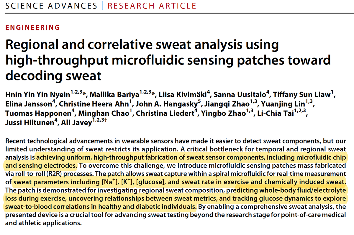 test Twitter Media - —I'd like to get glucose, sodium and potassium levels from sweat. At rest and during exercise. And in people w/ and w/o #diabetes. —Here you go: https://t.co/qJJMKs12RB @ScienceAdvances by @UCBerkeley @Cal_Engineer #openaccess https://t.co/wQPYLGsRAn