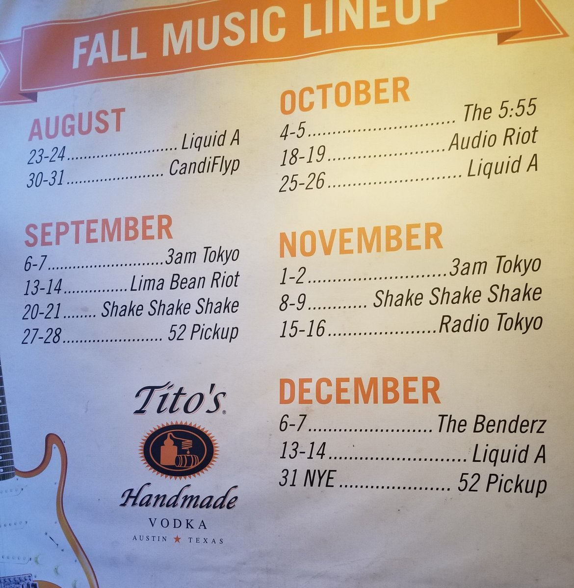 Our fall band schedule ft. @Liquidaband @3AMTokyo_ @radiotokyorocks @TheBenderzBand @Shake3xMusic @limabeanriot @Candiflyp #AudioRiot #52Pickup #5:55Band. Follow and RT for a chance at VIP passes for you and a guest the entire semester. Winner(s) picked Friday August 23rd at 8pm<br>http://pic.twitter.com/TCZMXjWNTR