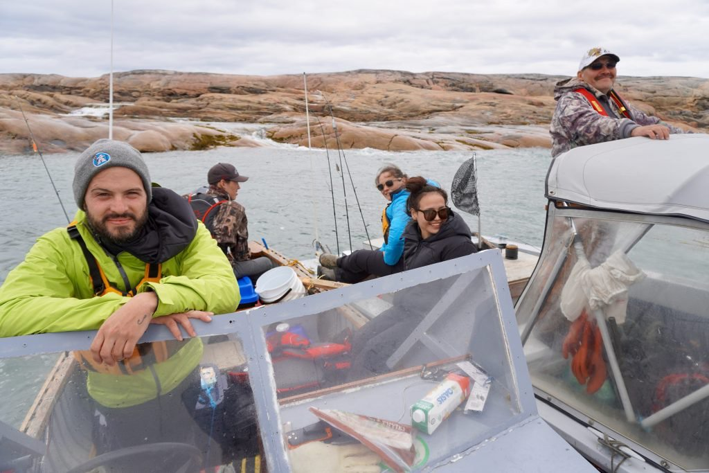 From left: team leader Henri-Bastien Gendreau, cultural guide Elijah Thurber, participant Sarah Saunders, team leader Valérie Raymond and cultural guide George Peter on a Jeunes Karibus' summer program camping trip to Dry Bay, north of Kuujjuaq. (Photo courtesy of Jeunes Karibus) <br>http://pic.twitter.com/0qYv6NX4KV