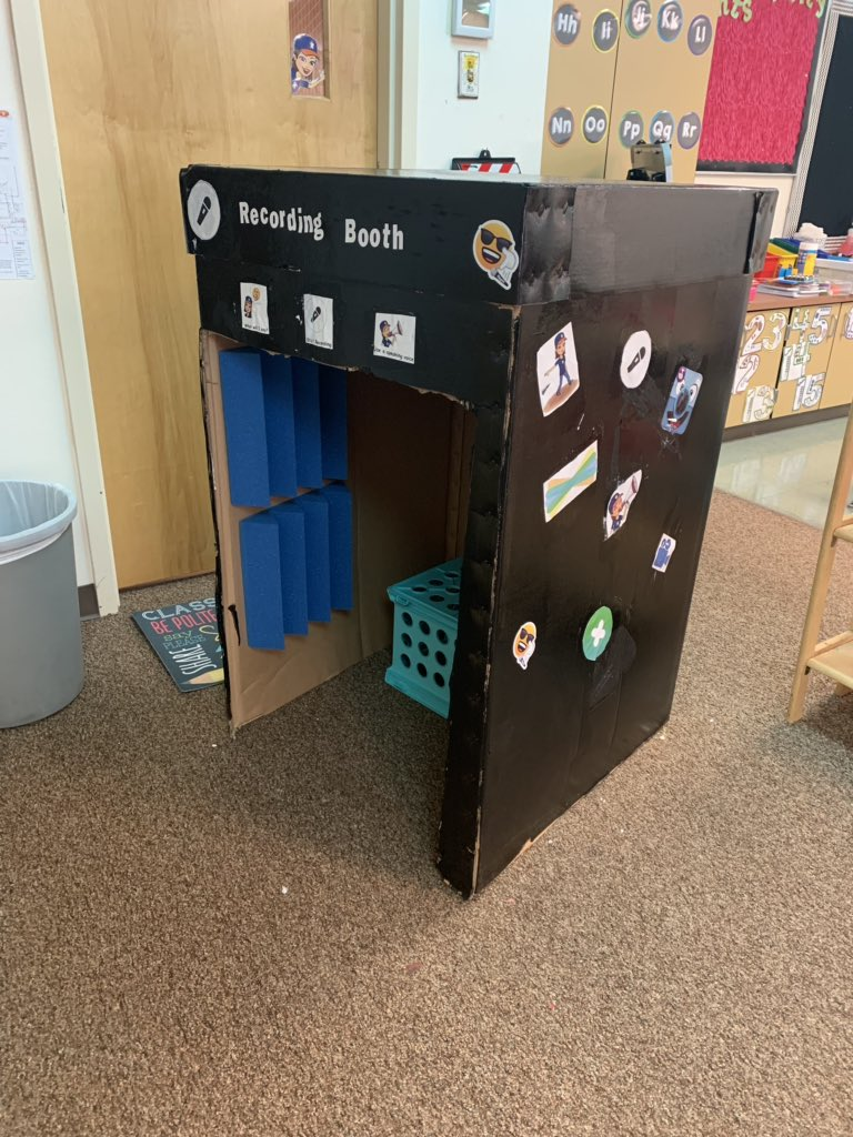 So excited about my recording booth for our recordings in @Seesaw , @Flipgrid and @ChatterPixIt. #ttaf1920 @GoliadGrizzlies