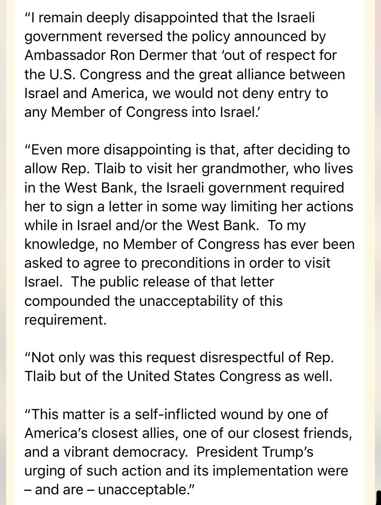 Statement from Hoyer, who is staunchly pro-Israel, slams Netanyahu government for requiring Tlaib to sign the letter in order to visit Israel, which no other members have had to do. Hoyer & other Dems I've spoken to say it was also a particularly low blow to leak Tlaib's letter