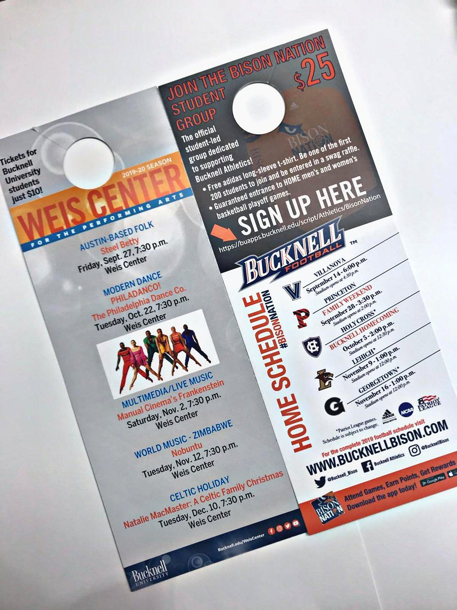Activation Friday!  Just got our @WeisCenter @Bucknell_FB door hangers in! Soon they will be hanging on all the campus housing doors!    #lovewhatwedo #clientsfirst <br>http://pic.twitter.com/YKY0SfbmBY