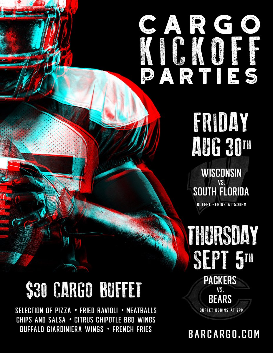 Football is back baby! And the kickoff starts at Cargo. Check out all the deets on our bottomless kickoff buffets for Bears & Wisconsin Badger games in @ChicagoFoodMag! https://t.co/P2lyC3CsH5 https://t.co/AGpCJKrqTl
