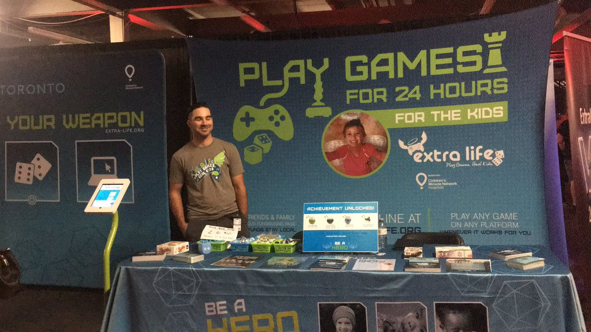 I am currently volunteering at the @ExtraLifeTO booth at the CNE Gaming Garage with @SxD_Lama !  If you are at the event come drop by!  #CNE #charity #sxd<br>http://pic.twitter.com/m3mdL36lKA