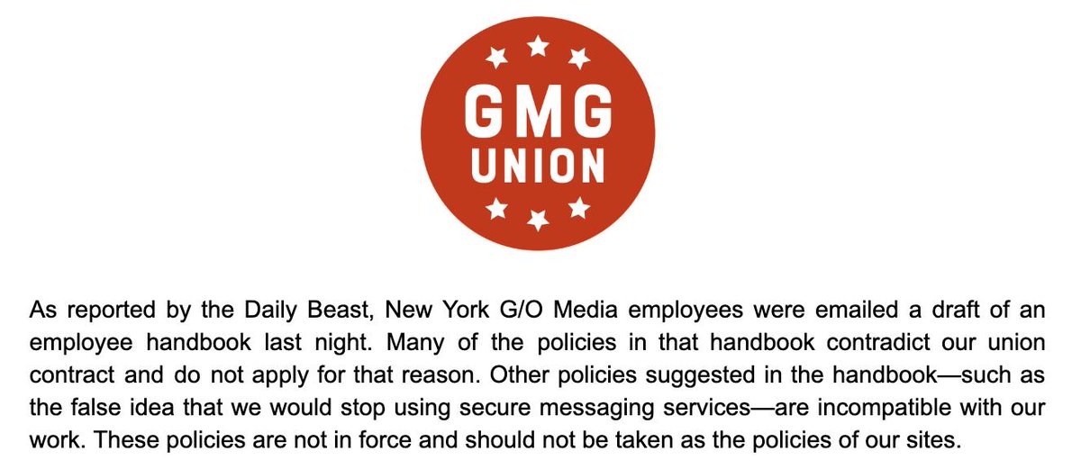 Our statement on the G/O Media handbook.