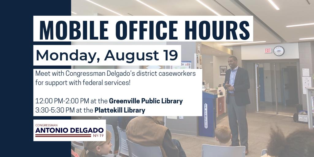 On Monday, members of my staff are holding mobile office hours in #NY19 in Greene and Ulster Counties. Come by with your casework and questions. Details here: